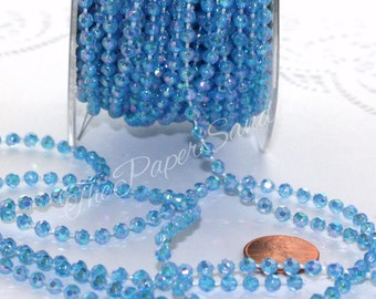 Blue Bead Garland by the yard, Iridescent Blue String Beads