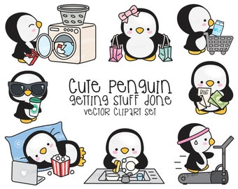 Premium Vector Clipart - Kawaii Pearl the Penguin - Cute Penguin Planning Clipart - Instant Download - Kawaii Clipart