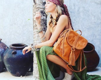 SANDY BAY. Tan leather backpack / tan leather backpack / tan purse / fringe backpack / boho backpack. Available in different leather colors.