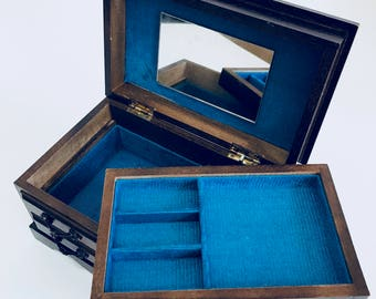 Speak Softly Love Vintage Wood Music Jewelry Box Blue Velvet Liner Adorable 2 Tier
