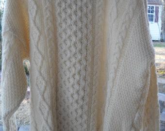 Latchford's Of Ireland Wonderful XL Ivory Aran Fisherman's 100% Wool Sweater. Warm  and  Good Looking!
