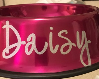 Medium 4 Cup, Personalized dog bowl, metal, rust proof, dent proof, metallic, made to order, personalized, stainless steel