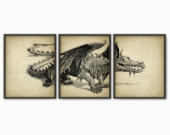 Dragon Print Set Of 3 - Dragon Triptych - Vintage Dragon Print - Dragon Art Poster - Dragon Mythology Print - Boys Room Decor - Fantasy Art