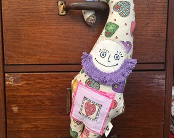 valentines day doll, gnome doll, stuffed animal, holds candy in pocket, handmade one of a kind,