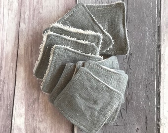 BULK BUY - Mini Cleansing Pads - 5 cm x 5 cm - Make-up Remover Pads - Pure Linen - Organic Cotton Towelling - Organic Flannel - Washable