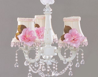 """Shabby Chic Cottage Style Mini Chandelier """"ALLIE"""". Custom Hand Made Just for You."""