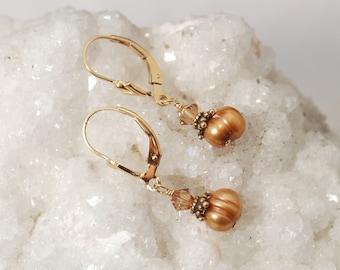 Pumpkin Spice earrings   Bronze Pearl earrings   Copper Pearl earring dangle   Rust Pearl drop earrings   Wedding gift   Bridesmaid earrings
