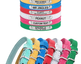 Cat Collar Personalized ID Tag Small Dog Leather Collars For Cats Pink Blue Red Green White