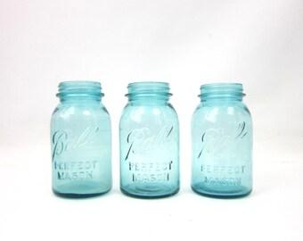 Blue Perfect Quart Mason Ball Jars Wedding Vase Home Decor Storage Set of 3 Collection of Jars Primitive Rustic Canning Jars