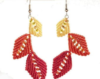 Red, orange and yellow leaf earrings