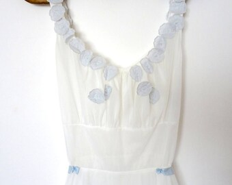 1960s Odette Barsa Slip Dress - vintage white nylon negligee with pale blue flowers - designer nightgown