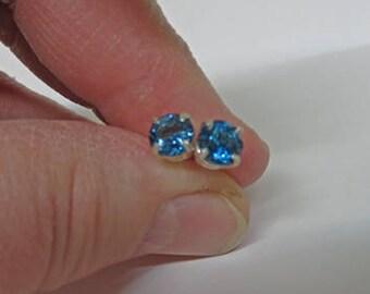 Blue Topaz Earrings - London Blue Topaz Sterling Silver Post Earrings - 6mm Round London Blue Topaz Posts