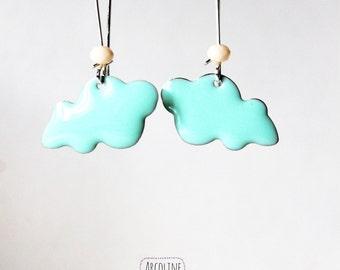Earring great sleeper green enameled cloud of water