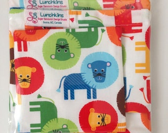 Snack Bags LIONS Re-Usable Washable with Closure Options