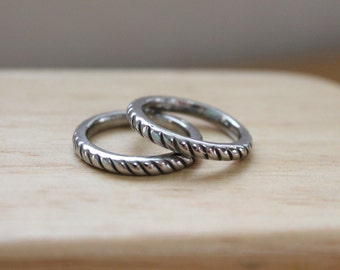 Rope Design Band Ring, Stainless Steel 316L, Wear it individual or stack with other ring designs!