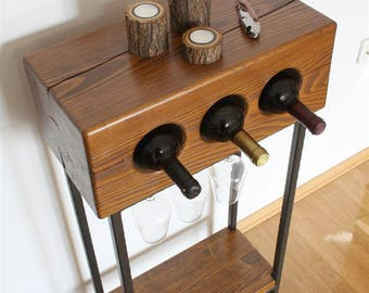 Console wine table with steel base / console table / wine rack / rustic table / solid wood table / industrial table