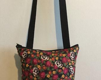 Skulls & flowers cross body pouch