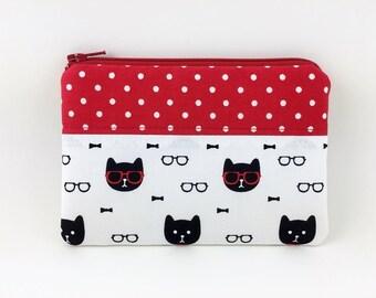Cat Zipper Pouch - Cat Coin Purse - Zipper Wallet - Card Pouch - Gift for her - Gift ideas - Padded Pouch - Change Purse