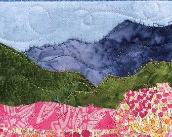 Flower Landscape - Housewarming Gift - Fabric Postcard - Quilted Postcard - Mountain Fiber Art - Greeting Card - Wall Decor - Nature Art