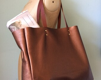Leather tote bag, bronze leather book bag, simple copper leather tote