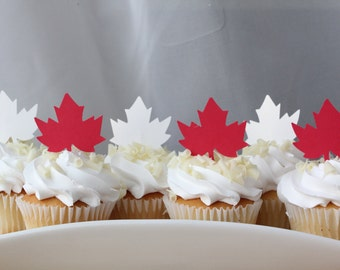 Canada Red Maple Leaf Shower Birthday Party Cupcake Toppers