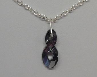 Sterling Silver Swarovski Crystal Silver Night Infinity Necklace