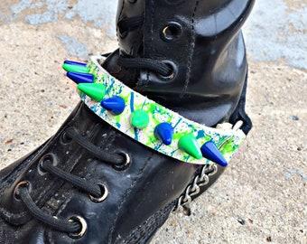 Blue & Green Splatter Spiked Boot Strap