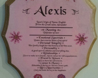 Children wooden name plaque, Meaning of name plaque, Alexis,Chase,Michael,Faith, Tyler name plaque