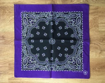 Vintage Eggplant Purple, Black and White Bandana