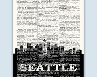Seattle Skyline, Seattle Wall Decor, Seattle Print, Seattle Art Print, Seattle Gift, Seattle Cityscape, Seattle Washington, Seattle Poster