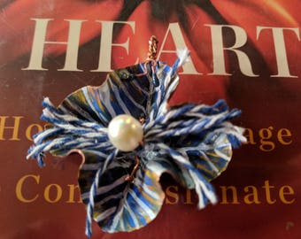 Sailor's Delight, Blue and White Frills Flower Pendant with Pearl - Foldformed Copper, Handpainted Patina, Enamel Tendrils