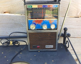 Vintage Transistor radio Sonnet 181P solid state multi band 1960s TESTED!!