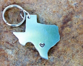 State Keychain - Long Distance Relationship USA or State Map - Texas Keychain