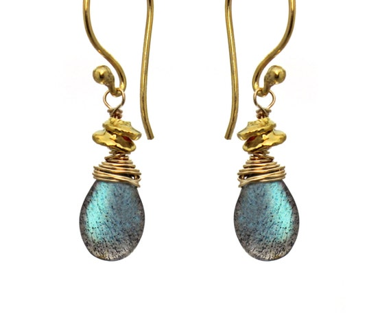 Wire Wrapped Gemstone Earrings with Wrapped Tiny Nuggets and Birthstone Options. Gold Filled or Sterling Silver E-1964-1.