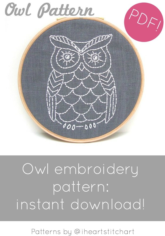 Owl embroidery pattern digital download dt1010fo