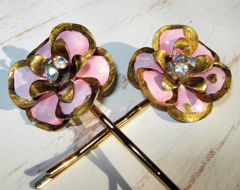 Flower Bobby Pin, Pink and Gold, Hair Accessories, Bridal Hair, Wedding Hair, Bobby Pin, Pinup Girl Hair, Rhinestones, Blue