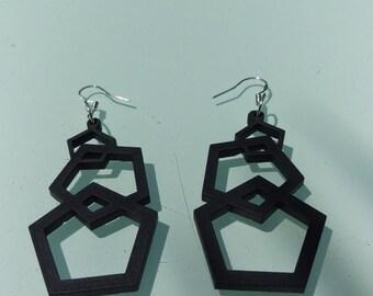 Jet Black Pentagon Earrings