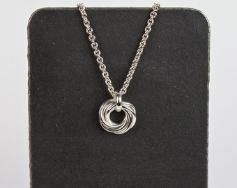 Silver Nest Pendant Necklace Argentium Sterling Circle Six Rings Chainmaille with Cable Chain Mothers Family Nickel Free 16 18 22 28 36 inch