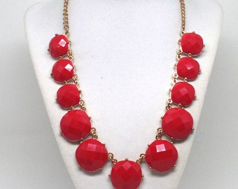 Estate Jewelry Cherry Red Cabs Gold Tone Necklace