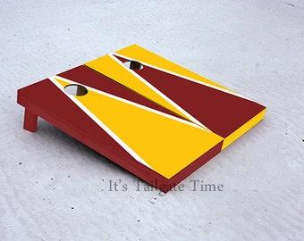 Custom Cornhole Boards Yellow and Burgandy Alternating Triangle with 1x4 frames