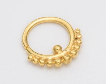 16g Gold Tribal Septum Ring for pierced nose. gold septum. septum piercing. gold septum ring.tribal septum ring.