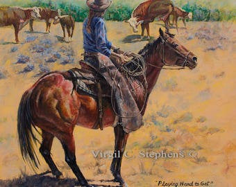 Cowgirl art, Playing Hard To Get, print from the original oil painting of a ranch cowgirl getting ready to rope the calves at round-up