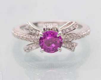 1.86ctw Natural Pink Sapphire & Diamond Bow Engagement Ring 14k, Pink Sapphire and Diamond Ring, Pink Sapphire Engagement Ring, Pink Sapphir