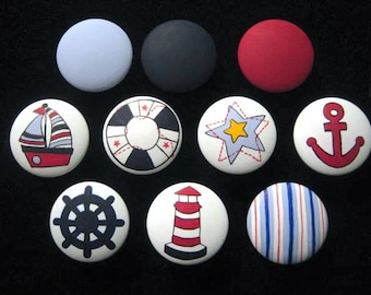Set of 10 - SAIL AWAY - NAUTiCAL DESIGN - Boat, Lighthouse, Anchor, etc. - Hand Painted Wooden Knobs ~ Great for Boy's/Girl's Room, Nursery