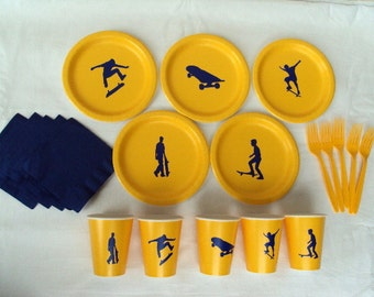 Skateboard Party Tableware Set for 5 People - Boy or Girl
