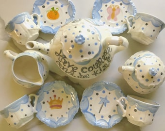 Cinderella Have Courage Be Kind  //  Tea set for Little girls //  Child's sized tea Set, handpainted // princess tea party