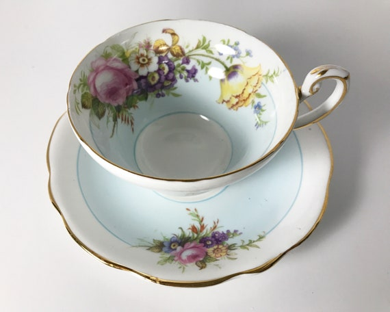 E.B. Foley Bone China Light Eggshell Blue and White Floral Teacup and Saucer
