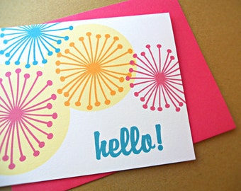 Hello Blank Cards / Blank Notecards / Thank You Notes, 10-Count