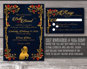 Beauty and the Beast Printable Wedding Invitation -- DIGITAL PRODUCT / DIY Invite / Fairy Tale / Disney / Gold and Navy / rsvp / invitations