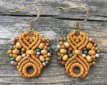 SALE Micro-Macrame Earrings - Dark Gold Mix